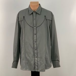 Scully Grey and Black Pearl Snap Button Down Shirt
